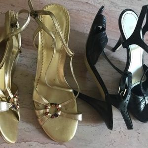 lot of 2 leather designer stiletto sandals black